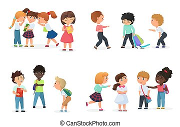 Problem of kids bullying at school. Multiracial boys and girls humiliate, offend, tease, gossip, force, threat, intimidate or aggressively dominate others.