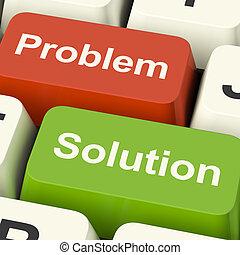 problem, og, løsning, computer nøgle, show, assistancen, og,...