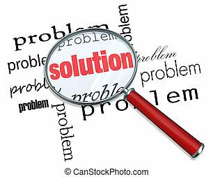 problem, og, løsning, -, forstørrelses glas
