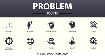 problem simple concept icons set. Contains such icons as ...