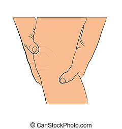 problem, skarv, övning, sena, ben, illustration, vektor, knä