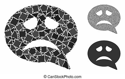 Problem smiley message Mosaic Icon of Rugged Parts