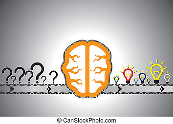 Problem solution concept showing problems solving using brain as a automated machine(assembly line). Question marks are representative of problems while glowing bulb is representative of solution.