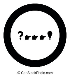 Problem solution concept icon black color in circle round...