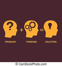 Problem solution concept showing problems solving using brain by thinking and creativity.