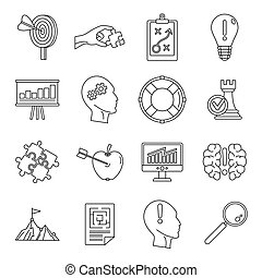Problem solution icon set, outline style