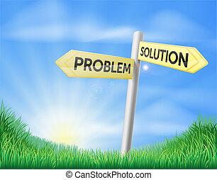 Problem solution sign concept