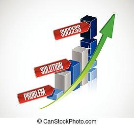 problem, solution, success business graph illustration...