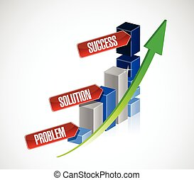 problem, solution, success business graph illustration...