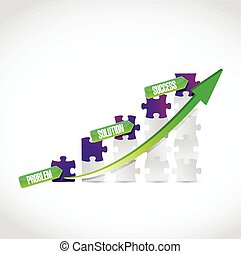 problem, solution, success puzzle graph illustration design...