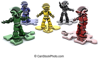 Problem solving - 3D render of robots on jigsaw pieces...