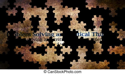 Problem solving and critical thinking puzzle concept
