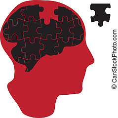 Vector illustration of man that has a brain made of jigsaw puzzle