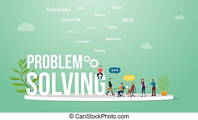 problem solving business concept with big word text and team people meeting discuss and debate to solve problems - vector