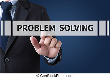 PROBLEM SOLVING Businessman hands touching on virtual screen and blurred city background