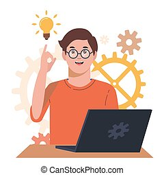 Problem solving concept. A man thinks and solves a problem. A boy with laptop. A luminous bulb as symbol of the appearance of a creative idea. Cartoon flat illustration