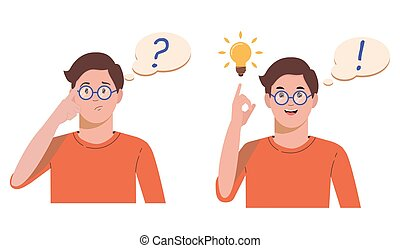 Problem solving concept. A man thinks and solves a problem. A question mark and a luminous bulb as symbols of the appearance of a creative idea. Cartoon flat illustration