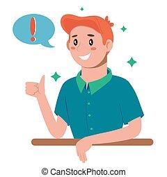 Problem solving concept. A man thinks and solves a problem. Appearance of a creative idea. Cartoon flat illustration