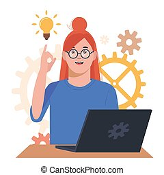 Problem solving concept. A woman thinks and solves a problem. Young girl with laptop. A luminous bulb as symbol of the appearance of a creative idea. Cartoon flat illustration