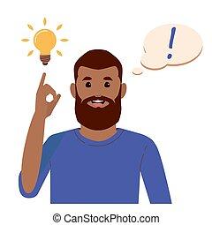 Problem solving concept. Black beard man thinks and solves a problem. A luminous bulb as symbol of the appearance of a creative idea. Cartoon flat illustration