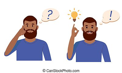 Problem solving concept. Black beard man thinks and solves a problem. A question mark and a luminous bulb as symbols of the appearance of a creative idea. Cartoon flat illustration
