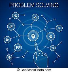 problem solving concept, blue background. analysis, idea, brainstorming, teamwork icons