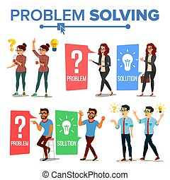 Problem Solving Concept Vector. Thinking Man And Woman. Question Mark, Light Bulb. Creative Project Idea. Issue, Trouble. Solution, Secret Discovery. Career Success. Decision Illustration