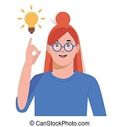 Problem solving concept. Woman thinks and solves a problem. A luminous bulb as symbol of the appearance of a creative idea. Cartoon flat illustration
