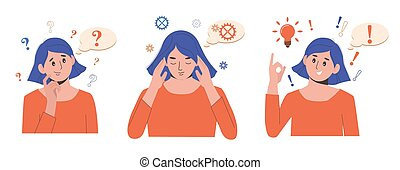 Problem solving concept. Woman thinks and solves a problem. A question mark and a luminous bulb as symbols of the appearance of a creative idea. Cartoon flat illustration