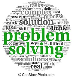 Problem solving in word tag cloud on white - Problem solving...