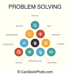 problem solving Infographic 10 steps concept. analysis, idea, brainstorming, teamwork icons