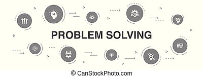 problem solving Infographic 10 steps template. analysis, idea, brainstorming, teamwork icons