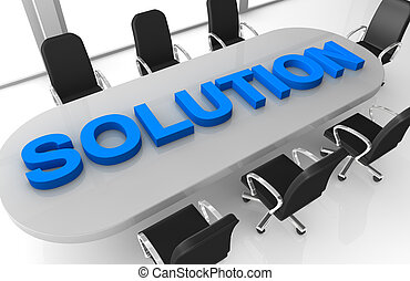 problem solving - one office room with the word: solution,...