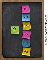 problem solving or brainstorming concept on a blackboard -...