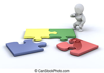 Person connecting puzzle pieces