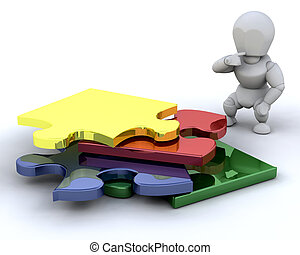 Problem solving - Someone stood next to an unfinished puzzle