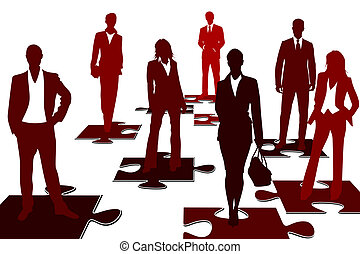 Concept illustration about problem solving business team represented by a group of business people on jigsaw puzzle pieces