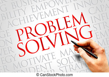 Problem solving word cloud, business concept
