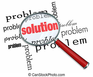 problem, und, loesung, -, vergrößerungsglas