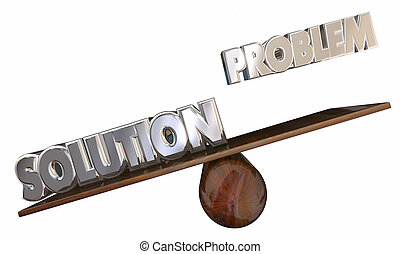 Problem Vs Solution 3d Words See Saw Issue Solved Animation