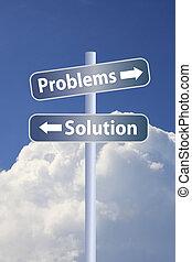 problem vs solution ahead road sign