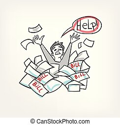 problem with bills concept vector illustration yelling for help man