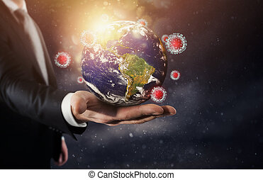 problema, 19, globo, mundial, vidrio, virus, covid