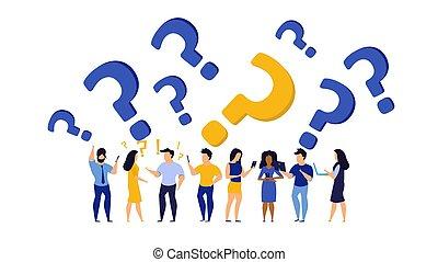 problema, caricatura, help., faq, apoio, serviço, ilustração, concept., resposta, pergunta, cliente, pessoa, trabalho, solution., ícone, pessoas, comunicação, desenho, human, negócio, vetorial, fundo, confusão