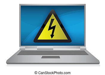 problema, computador portatil, eléctrico