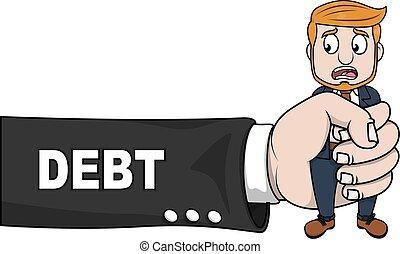 problema, dívida, negócio, mão