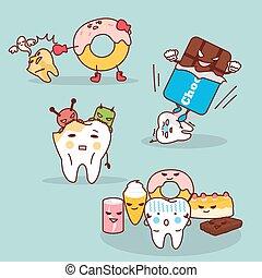 problema, diente, salud, decaimiento