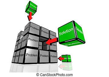 problema, e, solutionn, sympolized, con, volare, scatole