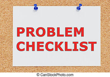 problema, lista de verificación, concepto