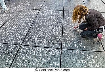 problema matemática, ligado, um, pavimento